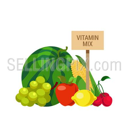 Flat style agriculture fruit healthy food web infographic icons concept. Collage of water melon grapes apple corn lemon cherry and wooden signboard. Website infographics collection.