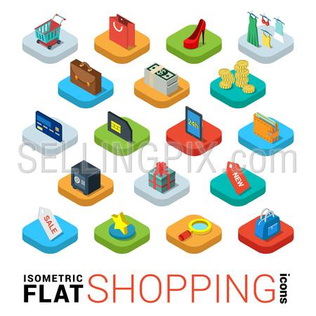 Flat 3d isometric trendy style online store shopping web mobile app infographics icon set. Cart bag credit card tablet wallet label sale search favorite credit bank card money dollar note gift box coin safe. Website application collection.