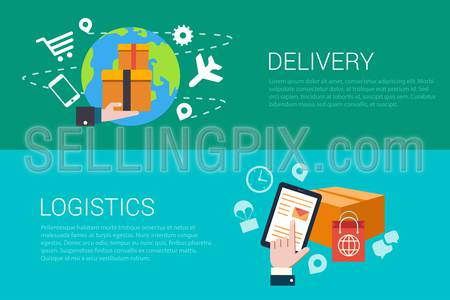 Flat style set of delivery logistics web infographics banners. Stylish internet store fast goods deliver and tablet hand touch parcel. Website info graphic collection.