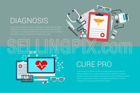 Flat style set of medicine medical lab diagnosis cure pro web infographics banners. Prescription stethoscope blood pressure monitor syringe computer lab diagnostics.Website info graphic collection.