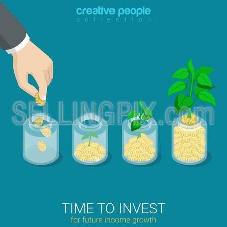 Flat 3d isometric style time to invest grow business start up concept web infographics vector illustration. Big hand throw coin into jar growing sprout. Creative people website conceptual collection.