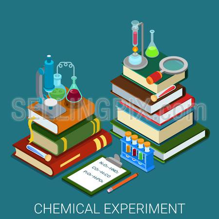 Flat 3d isometric style chemical lab experiment research concept web infographics vector illustration. Heap books clipboard formula tube flask magnifier microscope icon. Website conceptual collection.