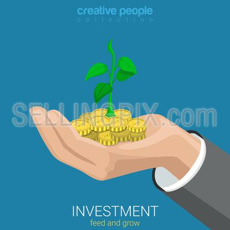 Flat 3d isometric style investment grow business concept web infographics vector illustration. Coin and plant sprout growing on hand palm. Creative people website conceptual collection.