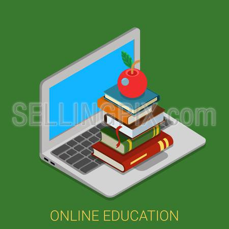 Flat 3d isometric style online course education internet technology concept web infographics vector illustration. Heap of book on laptop keyboard. Creative learning collection.