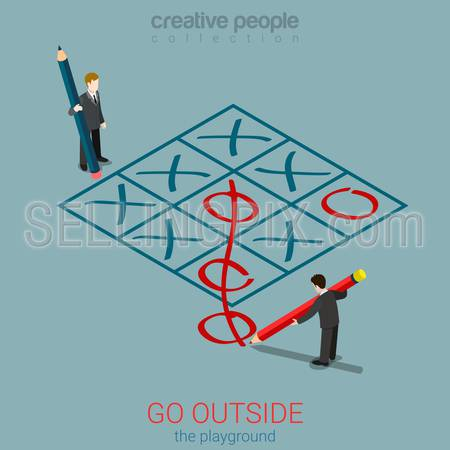 Flat 3d isometric style go outside playground plan rules concept web infographics vector illustration. Micro businessmen playing tic-tac-toe zero out of field. Creative people collection.