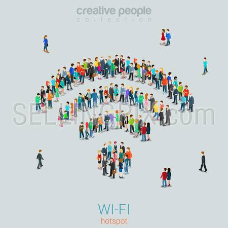 Flat 3d isometric style free public wi-fi hotspot concept web infographics vector illustration crowded square. Crowd group forming WiFi sign shape internet access point. Creative people collection.