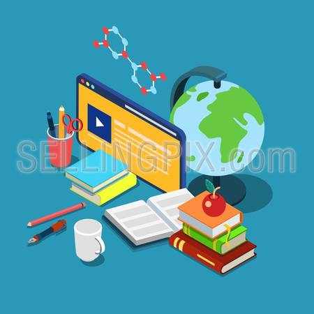 Flat 3d isometric online internet courses education knowledge learning concept web infographics vector illustration. Course lecture video interface window globe books stationery chemical formula.