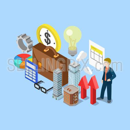 Flat 3d isometric realty estate financial accounting bookkeeping business concept web infographics vector illustration. Briefcase cog lamp calculator skyscraper micro man. Creative people collection.