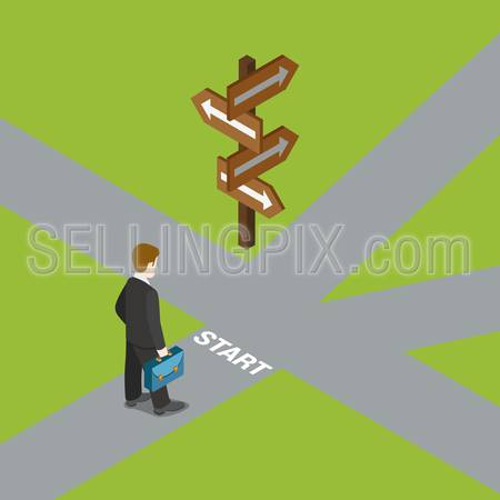 Flat 3d isometric crossroads choose your way choice dilemma business concept web infographics vector illustration. Businessman on start before crossroad. Creative people collection.