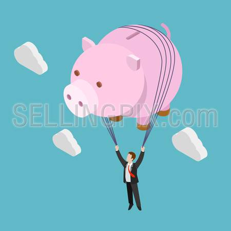 Flat 3d isometric financial freedom concept web infographics vector illustration. Businessman fly piggy bank inflating balloon. Creative people collection.