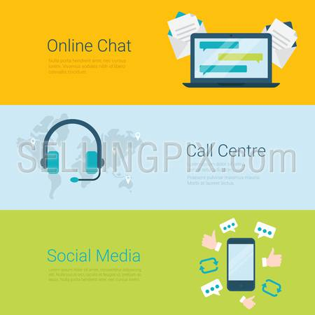 Flat style website slider banner online chat global call center social media concept web infographics. Laptop communication messaging, headphones world map, mobile social network appreciate message.