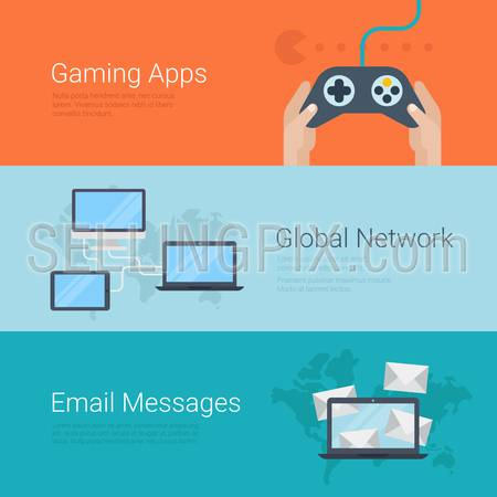 Flat style website slider banner gaming apps gamification global network email message concept web infographics. Gamepad in hands laptop tablet computer connection world map e-mail messages.
