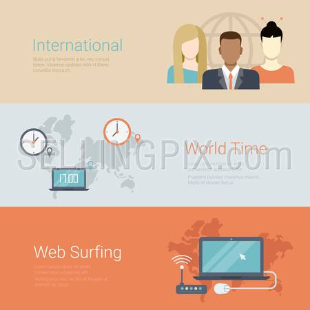 Flat style website slider banner international team world time web surfing concept web infographics. Group of people globe, worldwide clocks, wi-fi router laptop.