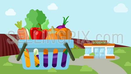 Flat style agriculture vegetable fresh field organic countryside roadside market ecoshop web icons. Pumpkin carrot salad onion cart countryside vector illustration. Website infographics collection.