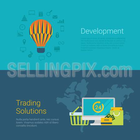 Flat style website slider banner development trading solution concept web infographics. Flying balloon worldwide online 24 hour shopping payment bag cart icons vector illustration.
