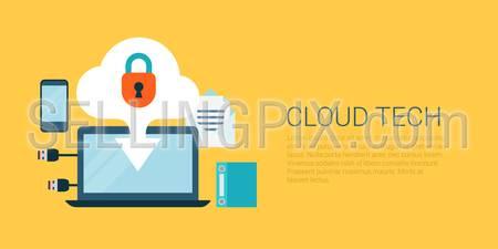 Flat style website slider banner cloud technology concept web infographics vector illustration. Laptop screen data upload lock smartphone USB connection cable vector illustration icon set.