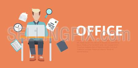 Flat style website slider banner office workplace concept web infographics. Young man sitting table working laptop vector illustration icons.