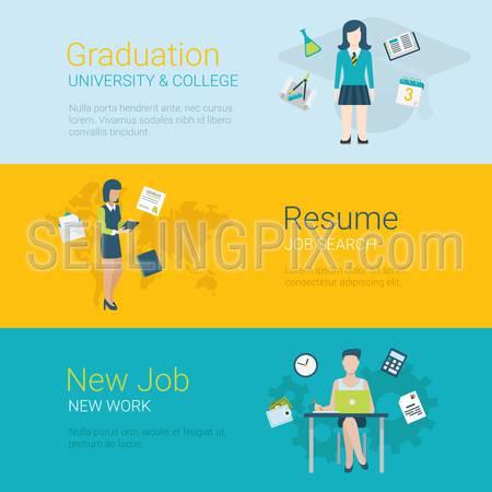 Flat style website slider banner career concept web infographics. Graduation college university, resume job search, new job workplace female conceptual vector illustration.