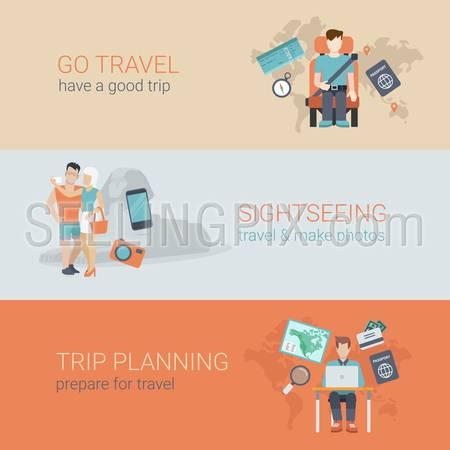 Flat style website slider banner go travel sightseeing trip planning concept web infographics. Template man airplane seat, couple selfie sphinx, table laptop tourist passport visa plan vector illustration.