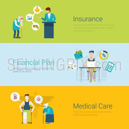 Flat style website slider banner insurance financial plan medical care concept web infographics. Old man and insurer agent, young accountant financial analyst, grannie and patient vector illustration.