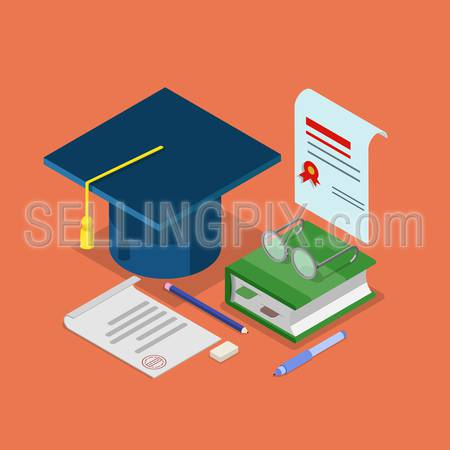 Flat 3d isometric education graduation diploma certificate concept web infographics vector illustration. Graduate cap signed document with stamp book glasses icon collage.