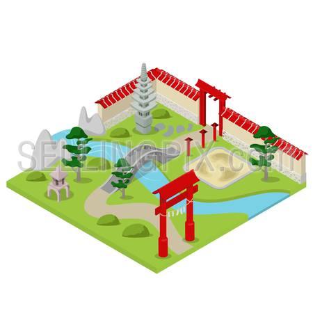 Flat 3d isometric Japanese garden city building block concept web infographics vector illustration. Bonsai stone river bridge gate.