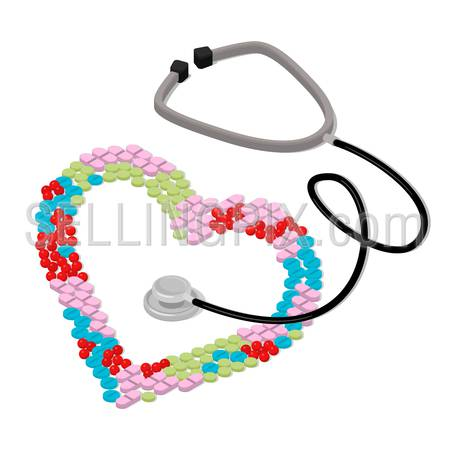 Flat 3d isometric I like to be treated health care medical concept web infographics vector illustration. Heart shape formed with colorful tablet pill stethoscope.