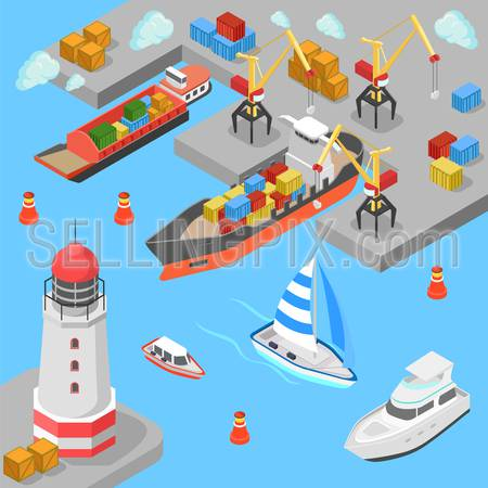 Flat 3d isometric nautical transport cargo shipping harbor dock port lighthouse boat yacht concept web infographics vector illustration. Container ship barge loading crane marine transportation.