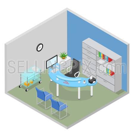 Flat 3d isometric hospital doctor desk room interior health care concept web infographics vector illustration.