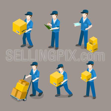 Flat 3d isometric delivery man at work icon set concept web infographics vector illustration. Creative people collection.