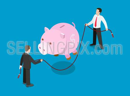 Flat 3d isometric financial credit loan investment solution concept web infographics vector illustration. Piggy bank jump skipping rope holding businessmen. Creative people collection.