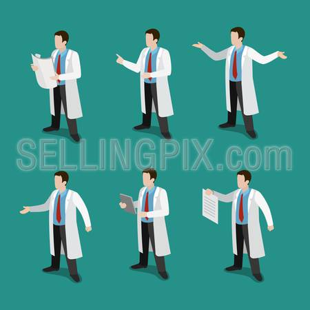Flat 3d isometric doctor at work icon set concept web infographics vector illustration. Healthcare medicine professional conceptual. Creative people collection.