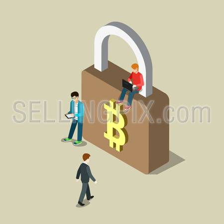 Flat 3d isometry isometric bitcoin security secure transaction payment concept web infographics vector illustration. Young hipster men on lock with bit coin sign. Creative bitcoins people collection.