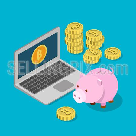 Flat 3d isometry isometric bitcoin money box savings wallet purse concept web infographics vector illustration. Piggybank laptop and bit coins. Bitcoins collection.
