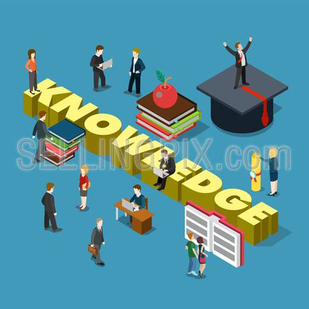 Flat 3d isometric style knowledge education training study graduation concept web infographics vector illustration. Micro businessmen graduate cap books big knowledge word. Creative people collection.
