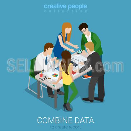 Flat 3d isometry isometric combine data to create graphic report concept web infographics vector illustration. Meeting room team work on codument. Creative people collection.