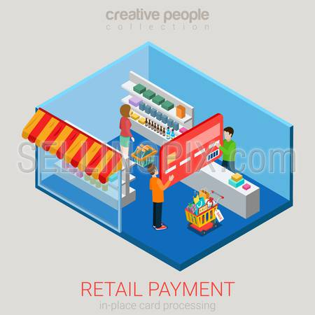 Flat 3d isometry isometric retail supermarket store payment concept web infographics vector illustration. Micro casual man paying using big credit card in shop. Creative people collection.