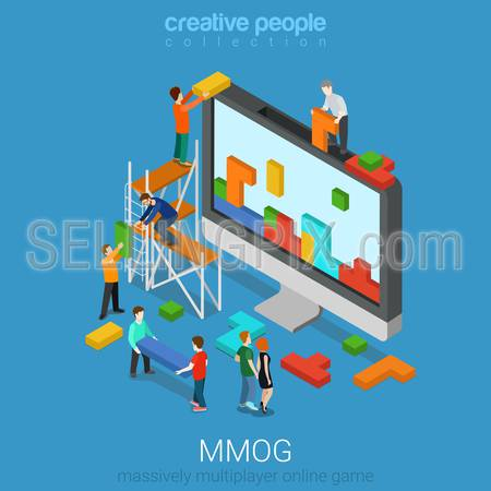 Flat 3d isometry isometric MMOG massively multiplayer online game gaming concept web infographics vector illustration. Big computer micro people play bricks. Creative people collection.