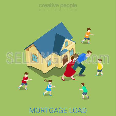 Flat 3d isometric style mortgage load loan burden financial business concept web infographics vector illustration. Family couple carry big house. Creative people website conceptual collection.