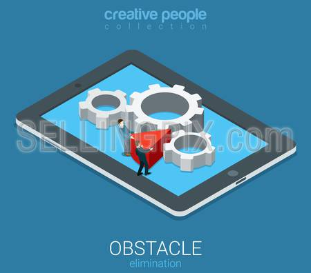 Flat 3d isometry isometric technolofy business obstacle elimination concept web infographics vector illustration. Micro businessmen remove wedge chock cogwheel mechanism. Creative people collection.