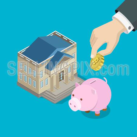 Bitcoin investment savings flat 3d isometry isometric concept web infographics vector illustration. Big hand put bit coin into piggy bank money box. Creative people collection.