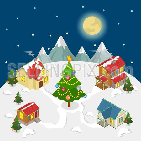 Merry Christmas Happy New Year flat 3d isometry isometric concept web infographics vector illustration leaflet flyer card postcard template. Spruced fir tree four houses. Creative people collection.