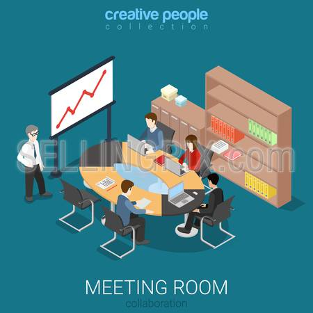 Meeting room presentation work process flat 3d isometry isometric concept web infographics vector illustration. Interior block table teamwork report speaker. Creative people collection.