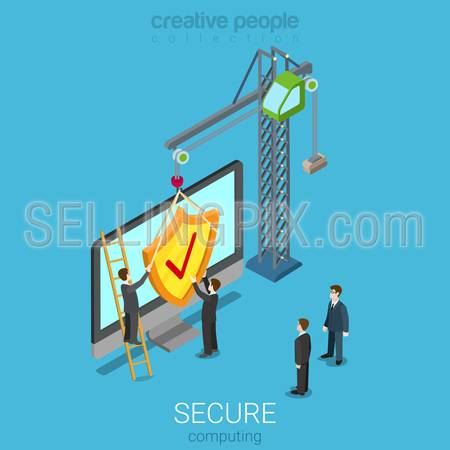 Secure computing technology flat 3d isometry isometric concept web infographics vector illustration. Micro people assembling shield to PC. Anti virus internet access security technology.