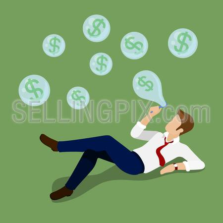 Dollar bubble flat 3d isometry isometric concept business money currency finance web infographics vector illustration. Man blowing soap bubbles with US dollar signs. Creative people collection.