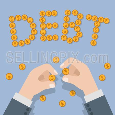 Debt financial banking business flat 3d isometry isometric concept web infographics vector illustration. Hands making DEBT work with coins. Creative people collection.