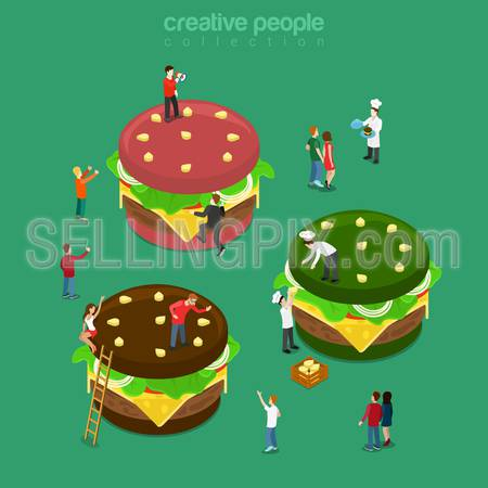 Color burgers flat 3d isometry isometric concept web infographics vector illustration. Micro cook prepare big green red brown burger. Restaurant cafe bistro eatery service. Creative people collection.