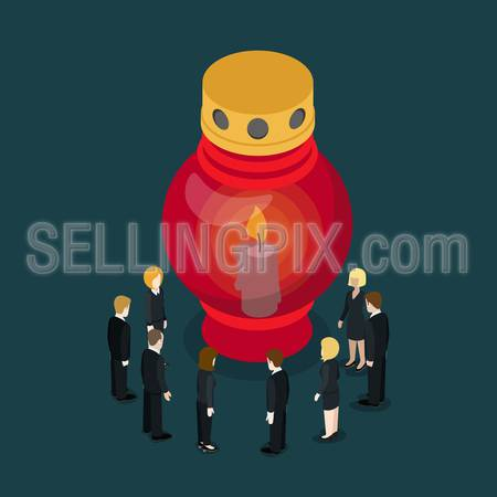 Grave lamp candle light lantern flat 3d isometry isometric sorrow mourn concept web vector illustration. Micro people in sorrow around burning lantern. Creative people collection.