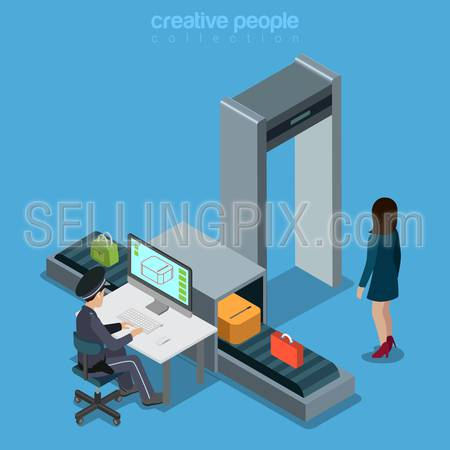 Airport transport security scan tape portal flat 3d isometry isometric concept web infographics vector illustration. Woman walk portal officer computer monitoring luggage. Creative people collection.