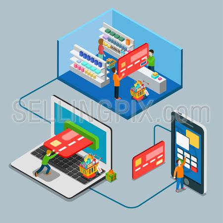 Flat 3d isometry isometric payment type concept web infographics vector illustration. Micro casual man pay big credit card supermarket laptop mobile online. Creative people collection.